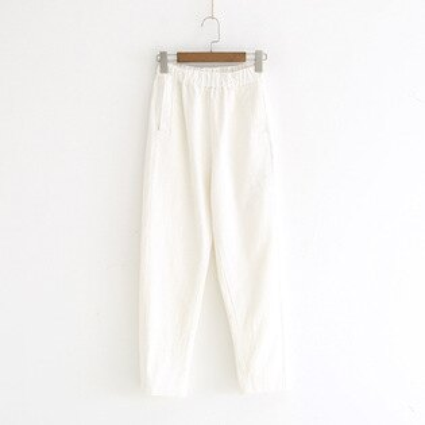 簡約風純色休閒褲鬆緊腰大口袋直筒長褲樂天時尚館。預購。[全店免運]