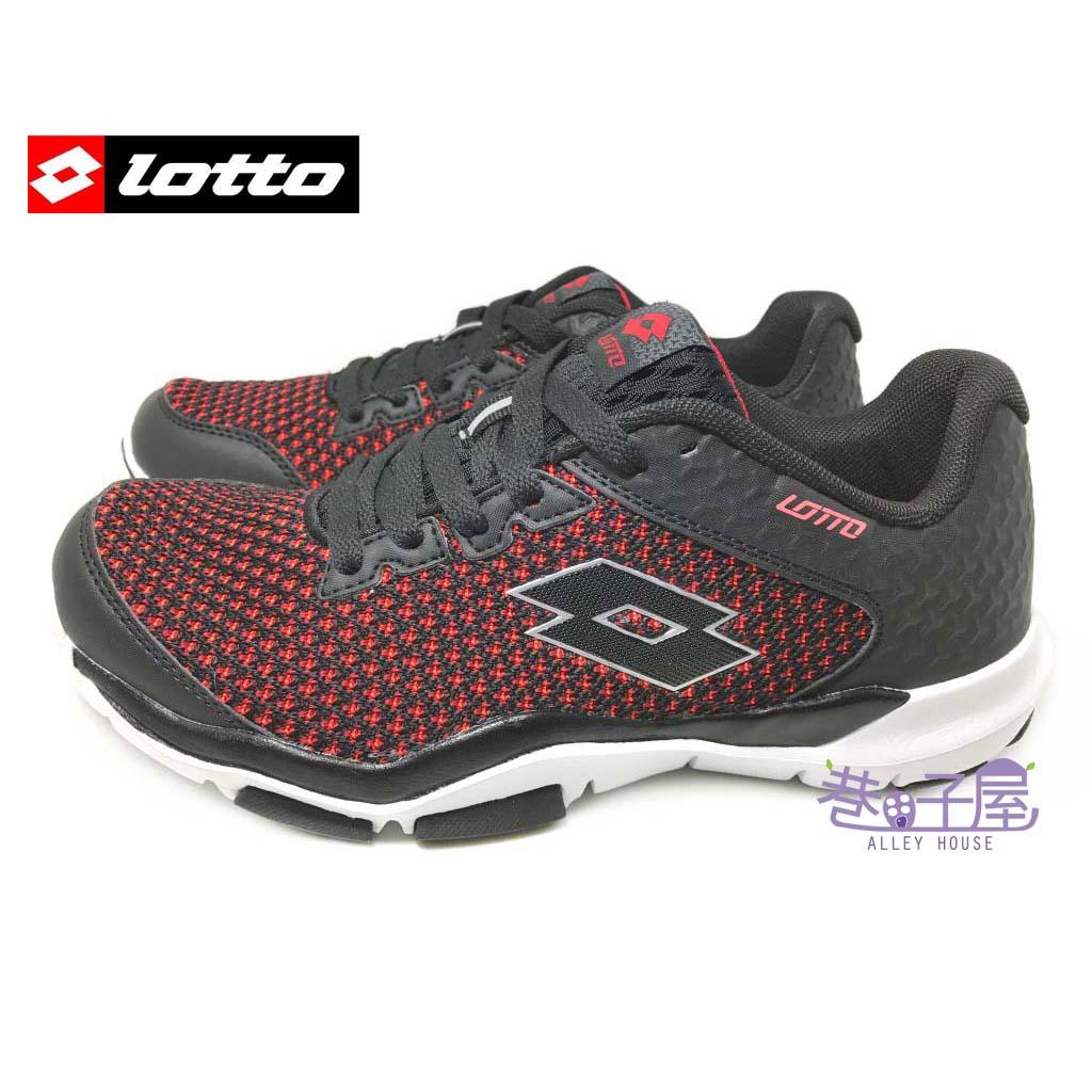【巷子屋】義大利第一品牌-LOTTO樂得 男款編織面避震運動慢跑鞋 [5022] 黑紅 超值價$690
