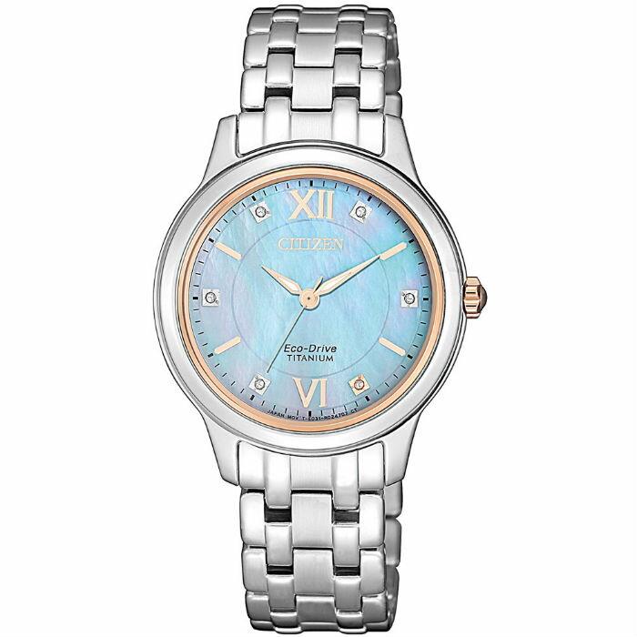 CITIZEN星辰 EM0726-89Y 時尚鈦金屬光功能炫麗腕錶 / 水藍面 30mm