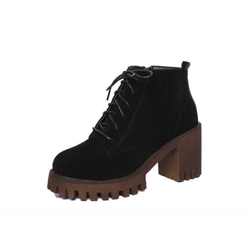 2016歐洲站秋冬高筒綁帶帥氣軍靴短靴百搭鞋鋸齒防滑膠底馬丁靴巧克力棕色黑色休閒女鞋