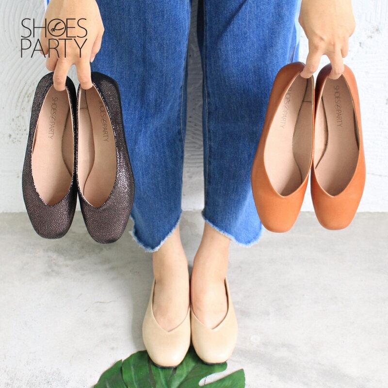 【P2-17607L】 小方頭平底鞋_Shoes Party 0