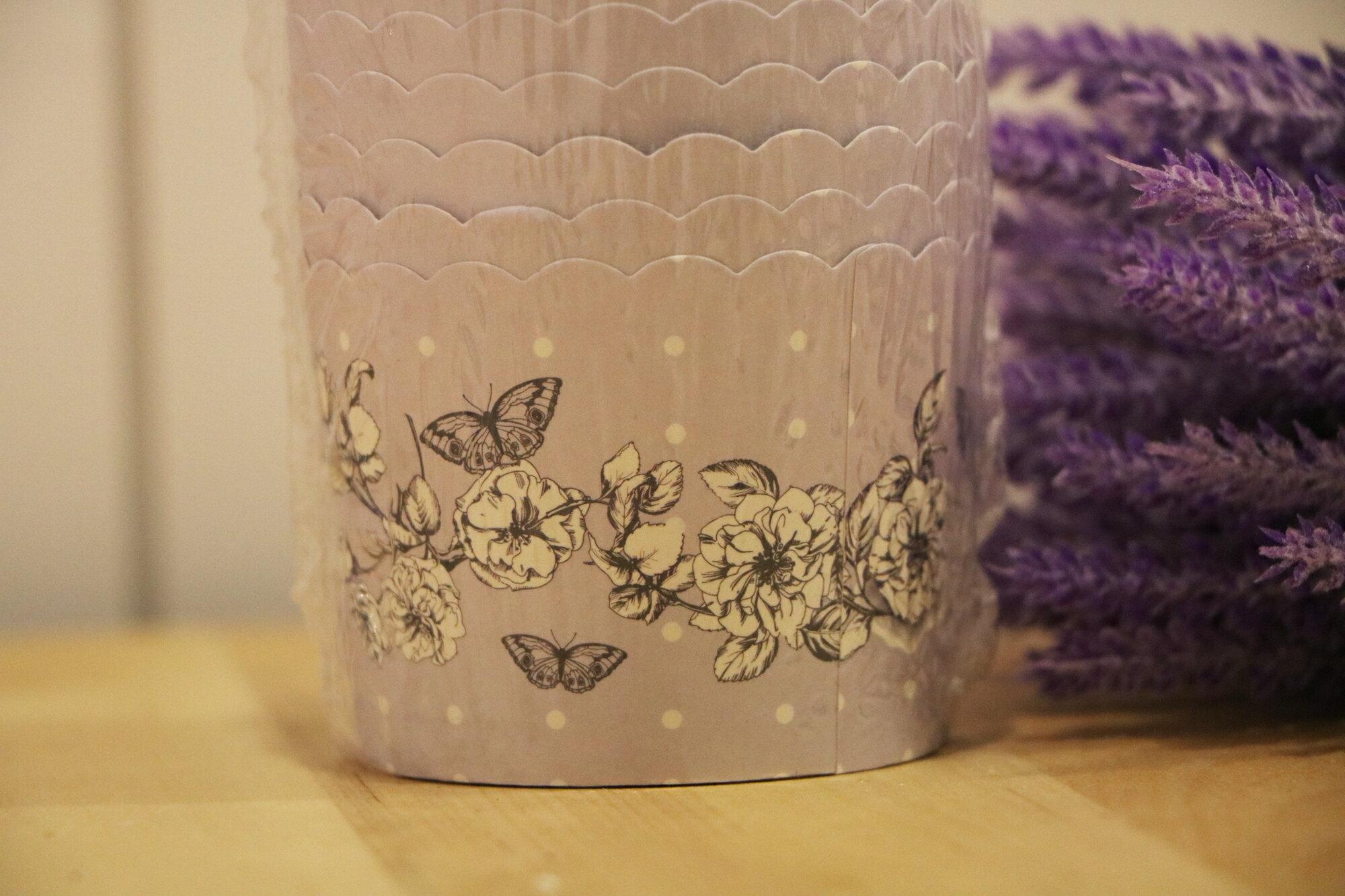 粉紫花蝶-馬芬蛋糕紙杯(25入)