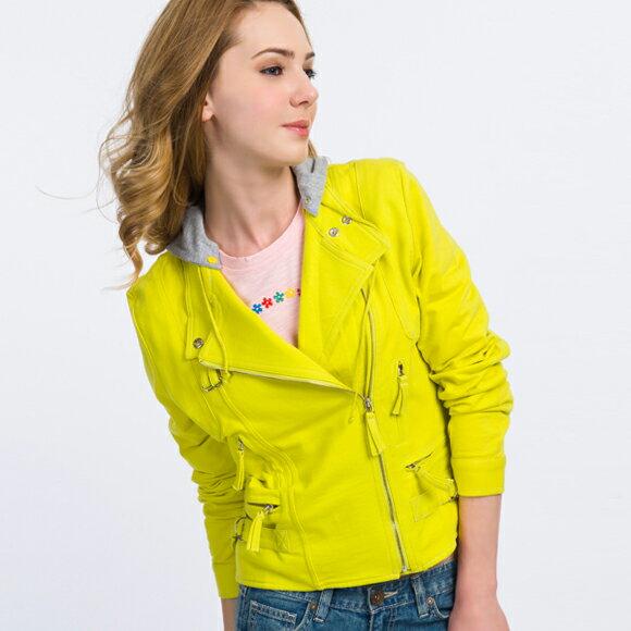 【888元優惠↘】騎士風棉質針織外套(帽可拆)-螢光黃 - BLUE WAY ET BOiTE 箱子