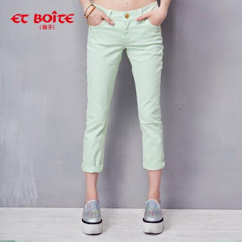 ET BOiTE 箱子  甜心馬卡龍色彩丹寧褲(綠) 0
