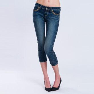 (限時$990)【ET BOîTE 箱子】配皮8分牛仔褲