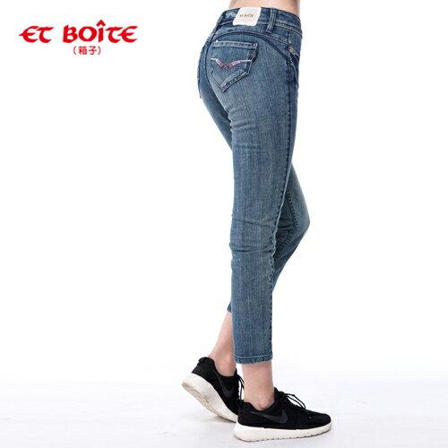 【990元優惠↘】ET BOiTE 箱子  調細飾鑽丹寧九分褲 1