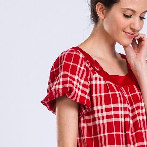 【日本藍 NIPPON BLUE】格子短袖復古甜美洋裝 格子短袖復古甜美洋裝 1