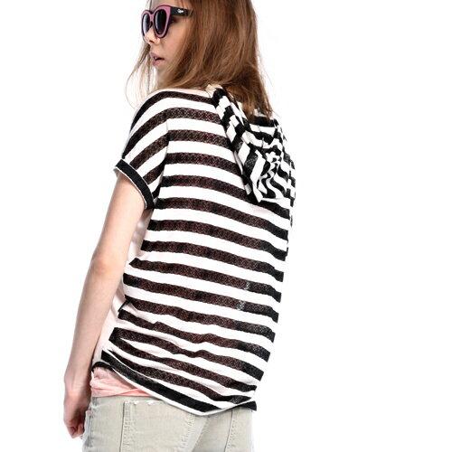ET BOiTE 箱子  潑漆蕾絲條紋短袖T恤(2色) 1
