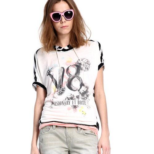 ET BOiTE 箱子  潑漆蕾絲條紋短袖T恤(2色) 0