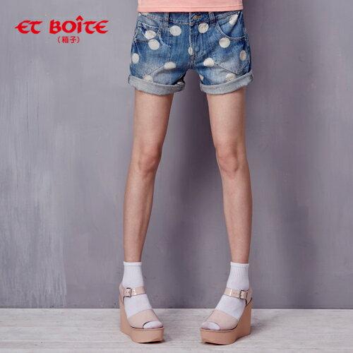 ET BOiTE 箱子  男友風大點點貼鑽牛仔短褲 - 限時優惠好康折扣