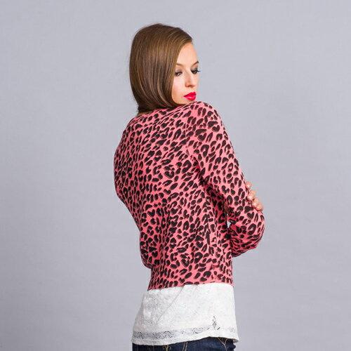 【990元優惠↘】豹紋印花針織小罩衫(珊瑚紅  /  麻灰) - BLUE WAY  ET BOiTE 箱子 0