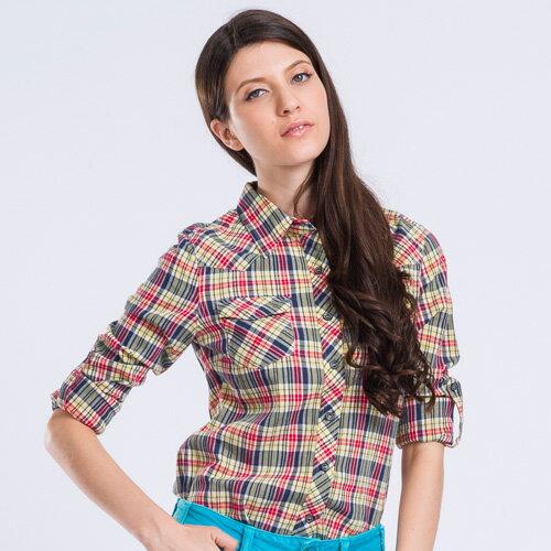 復古色調格子襯衫(黃紅格)-BLUEWAYETBOiTE箱子