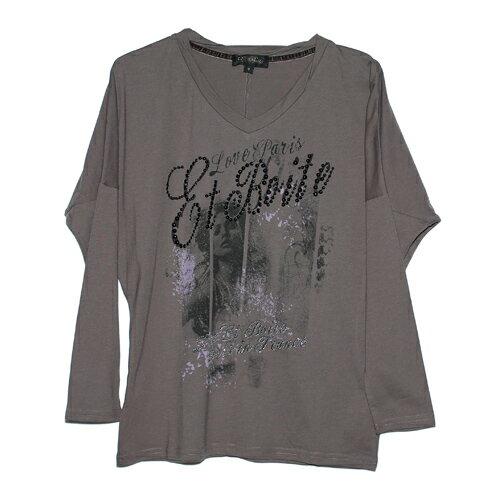 ETBOiTE箱子女人畫像串珠連袖T恤