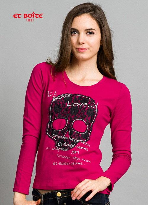 【限時5折↘】ET BOiTE 箱子  蕾絲骷顱頭T恤(紅紫)   【單筆滿1000結帳再折$100】 0