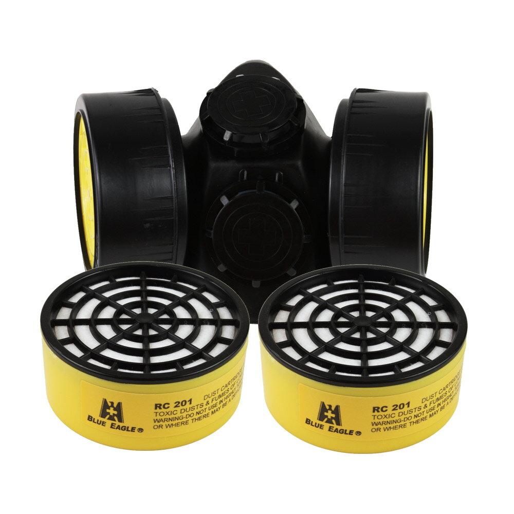【愛挖寶】藍鷹牌 NP-306澳規雙濾罐式防毒口罩搭RC-201濾罐 過濾微小顆粒粉塵 1組NP-306*RC-201