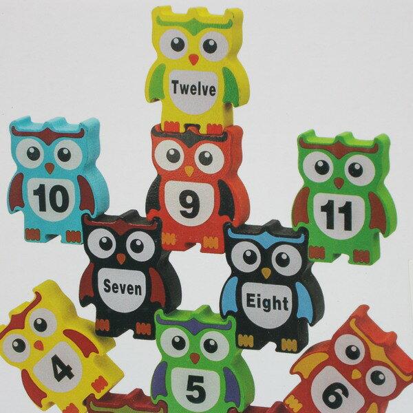 木製貓頭鷹疊疊樂 學習積木(英文+數字)/一盒入{促180} 桌遊 趣味平衡木玩具~YF14521