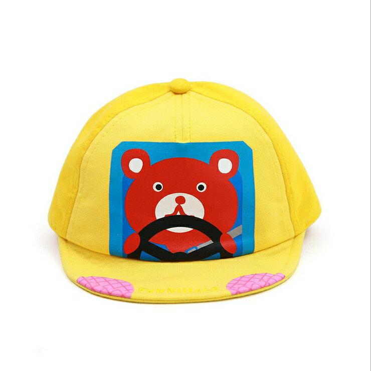 Funnimals◆可愛卡通小熊開車車星點撞色帽兒童帽鴨舌帽-黃色