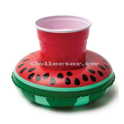 【C17032301】充氣式西瓜造型飲料套 游泳池可樂套 西瓜造型充氣杯座 夏日必備