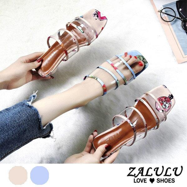 ZALULU愛鞋館7EE064預購繽紛夏日色彩款繫繩低跟拖鞋-粉藍-35-39