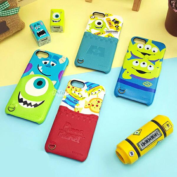 【日本 PGA-iJacket】UNISTYLE Disney 授權商品 皮革插卡口袋 iPhone 7/6/6S 4.7吋 硬殼 手機殼 - 怪獸大學系列