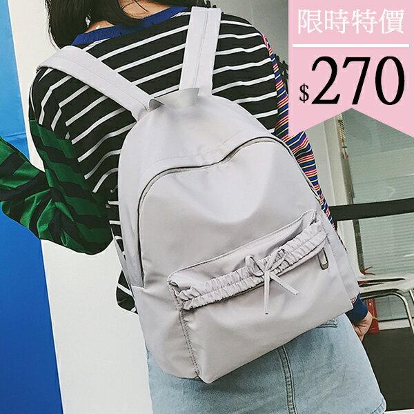 後背包-蝴蝶結純色尼龍後背包-6201- J II
