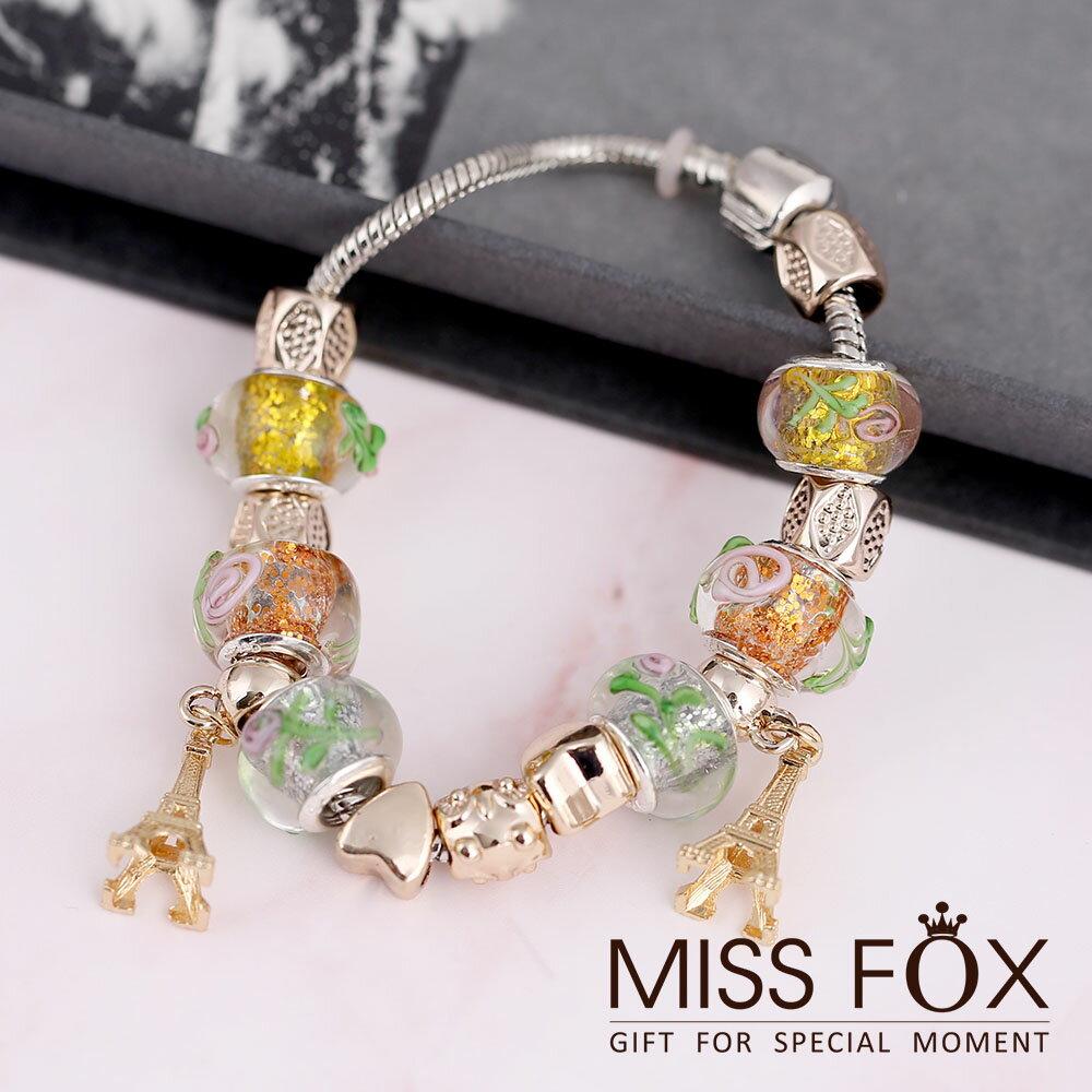 巴黎鐵塔 潘朵拉款琉璃串珠手鍊 MISSFOX JJ1698