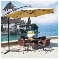 Mcombo 10ft Steel Umbrella Patio Sun Shade Crank Tilt - Beige