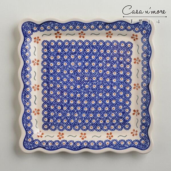 波蘭陶紅點藍花系列方形餐盤陶瓷盤菜盤水果盤沙拉盤24cm波蘭手工製