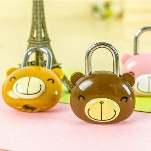 美麗大街【BF245E19】正品卡通可愛掛鎖輕鬆熊頭鎖防盜鎖箱包密碼鎖行李箱鎖