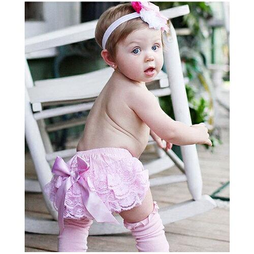 【hella 媽咪寶貝】美國 RuffleButts 小女童荷葉屁屁褲/包屁褲 淡粉蕾絲 (RBRBW020)
