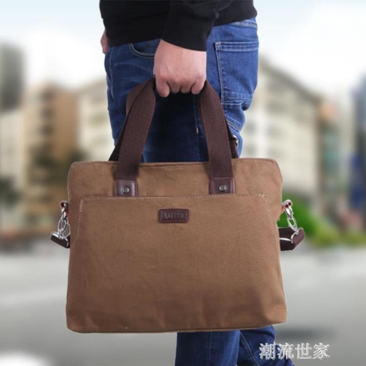 男士手提包橫款商務電腦包單肩斜挎包休閒男包復古帆布包公文包男