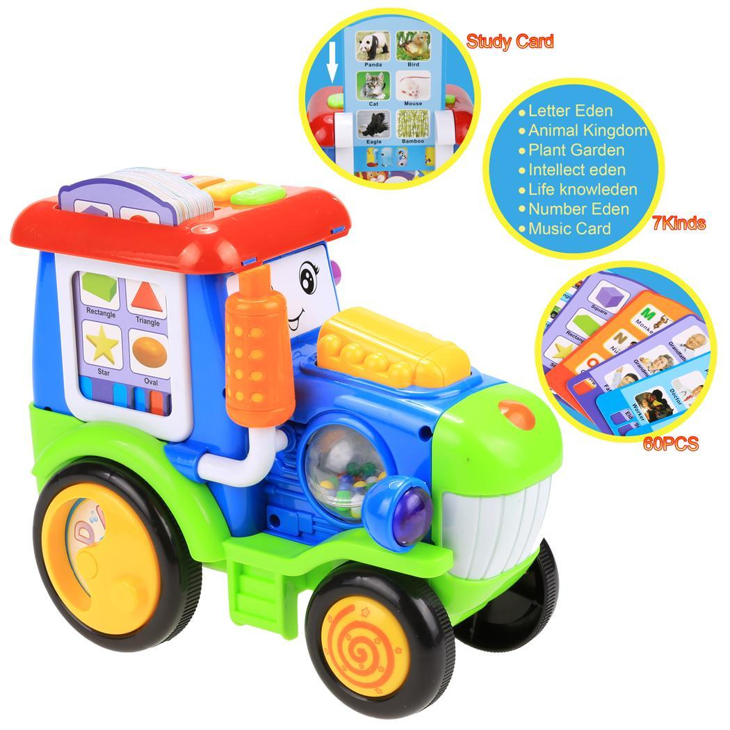 Baby Light Music Card Learning Educational Electric Train Rractor Pull Toy 2