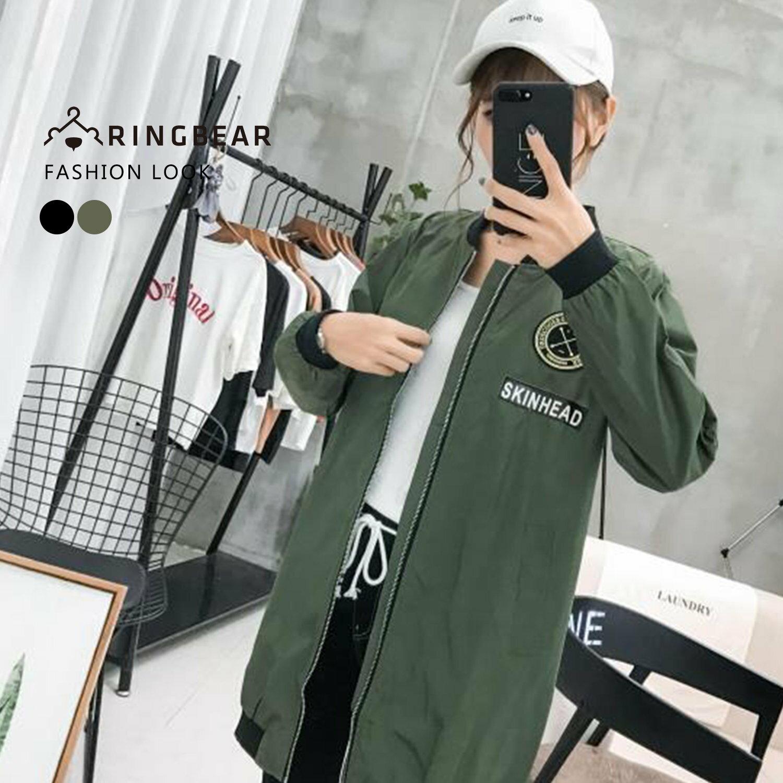 防風外套--個性軟膠裝飾織帶標語羅紋縮口袖襬夾克外套(黑.綠XL-4L)-J318眼圈熊中大尺碼 0