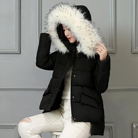 [全店滿700現折$100]    SaSa 韓國風冬季連帽大毛領輕羽絨外套