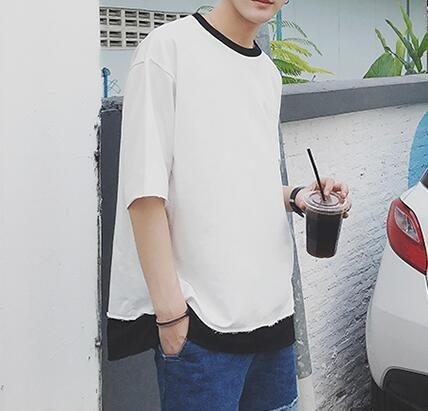 FINDSENSE 時尚潮流 男 簡約 寬鬆 口袋 中袖 休閑外搭上衣 短袖T恤 中袖T恤