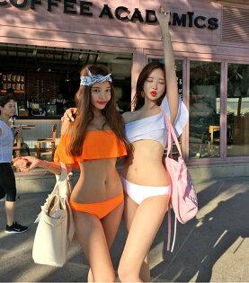 泳裝比基尼泳衣素色荷葉邊聚攏顯瘦兩件套泳裝【SF8008】BOBI0322