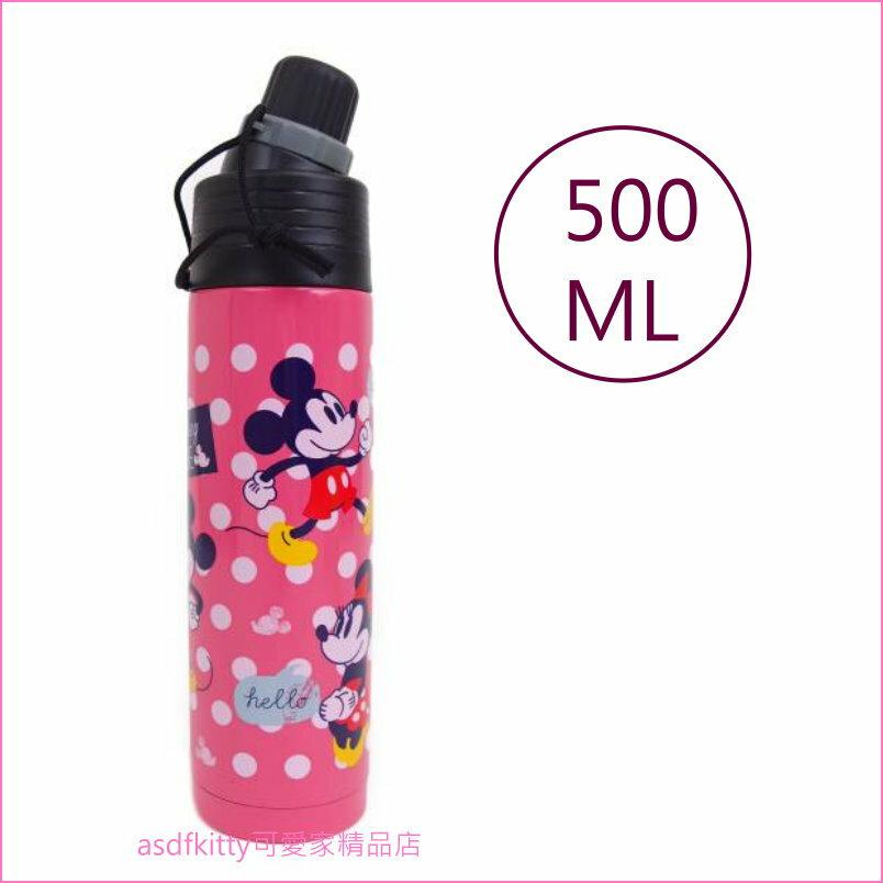 asdfkitty可愛家☆迪士尼米奇米妮紅水玉不鏽鋼保溫保冷直飲水壺-500ML-日本正版商品