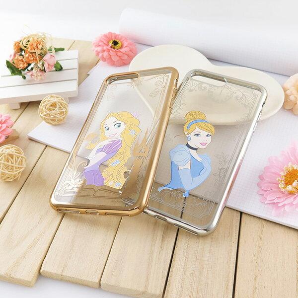 【Disney】迪士尼iPhone7Plus(5.5)電鍍彩繪保護套-公主系列