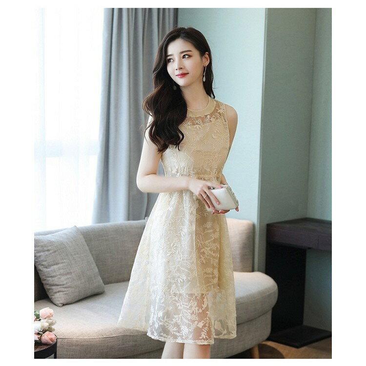 無袖重工刺繡連身裙 (3色,S-XL)