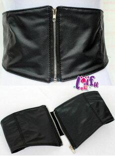 草魚妹:★草魚妹★H738腰封馬甲拉鍊腰帶寬腰帶腰封皮帶正品,售價350元