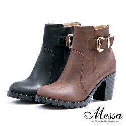 【Messa米莎專櫃女鞋】雙11限時五折下殺↘ MIT 顯瘦俐落美型側拉鍊粗跟短靴-二色