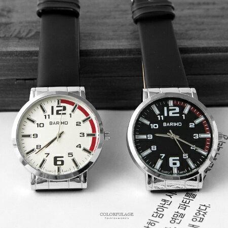手錶 經典立體數字刻度設計腕錶 品味男生造型款 柔軟皮革錶帶 柒彩年代【NE1886】單支售價
