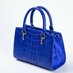 【Nobody and Somebody】進口鱷魚皮 摩登寶石藍手提包