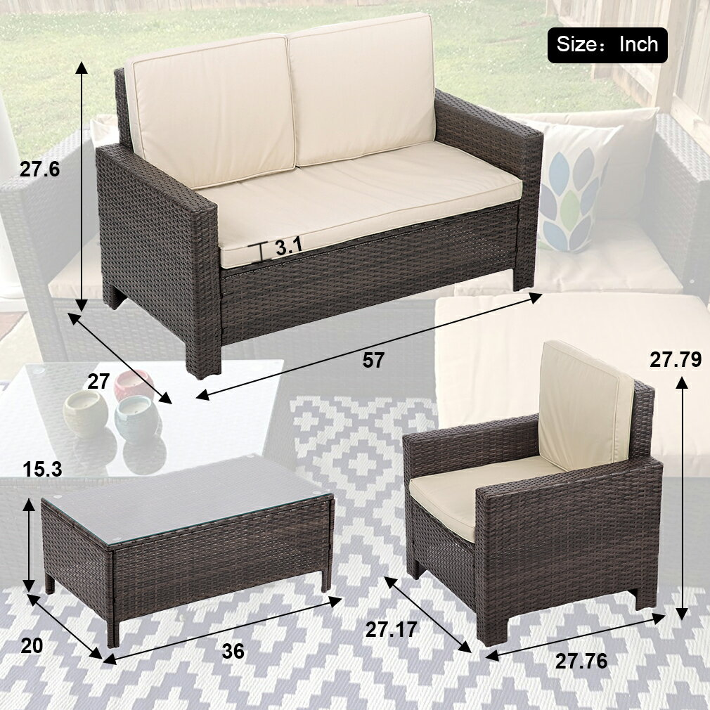 Factory Direct: 4pc PE Rattan Wicker Sofa Set Cushion Outdoor Patio ...