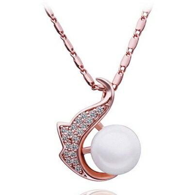 ~純銀鍍18K金~~項鍊~珍珠吊墜~氣質典雅別緻鑲鑽生日母親節 女飾品73ce231~ ~