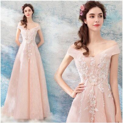 天使嫁衣:天使嫁衣【AE1216】淺粉色卡肩V領立體剌繡收腰氣質長禮服˙預購訂製款