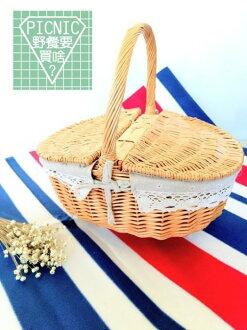 《野餐要買啥》7-11合作款雛菊棉麻橢圓蕾絲雙蓋單把二人組手提野餐籃