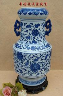 景德鎮青花陶瓷工藝品 藝術瓷器花瓶 雙耳瓶纏枝蓮 小花插 陳設