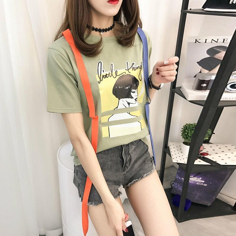 FINDSENSE G5 韓國  印花 撞色 織帶 女裝 圓領 寬鬆 上衣 學生服 T恤