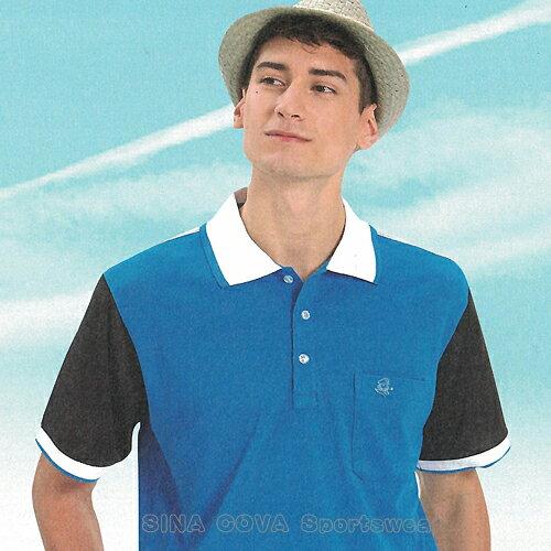 【義大利 SINA COVA】男女運動休閒吸濕排汗短POLO衫-海藍黑#S8102A 1
